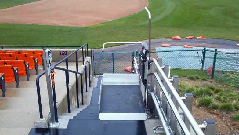 Harry Grove Stadium wheelchair lift image on Bedco Mobility website