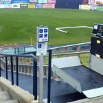Harry Grove Stadium wheelchair lift image on Bedco Mobility website