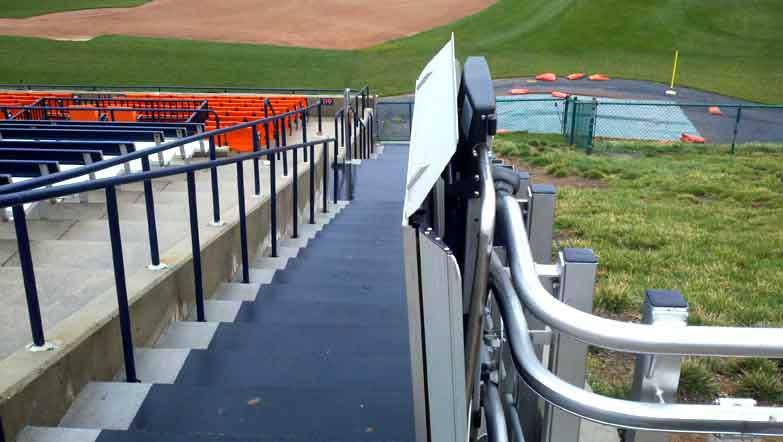 Harry Grove Stadium wheelchair platform lift on Bedco Mobility website