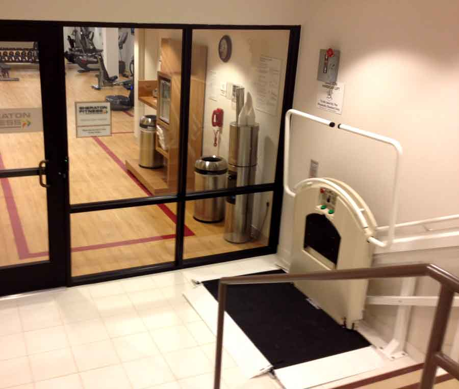 Sheraton gym wheelchair lift platform on Bedco Mobility website