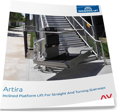 Artira wheelchair lift brochure image on Bedco Mobility website
