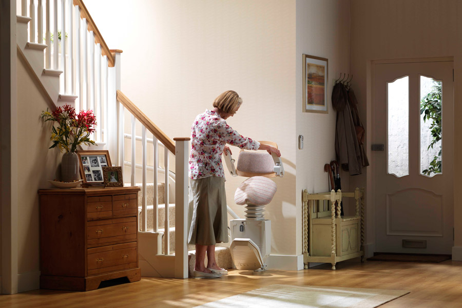 woman with residential wheelchair lift on Bedco Mobility
