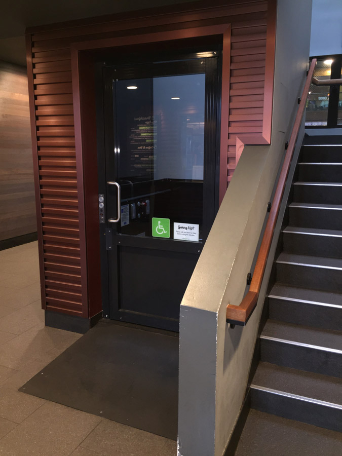 Shake Shack vertical lift lower door image on Bedco Mobility
