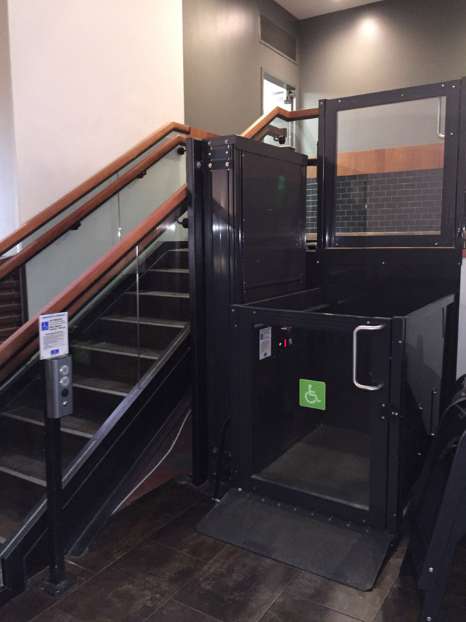Shake Shack unenclosed wheelchair lift image on Bedco Mobility
