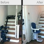 before and after stairlift image on Bedco Mobility website