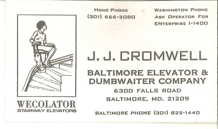 J.J. Cromwell Baltimore Elevator & Dumbwaiter card image