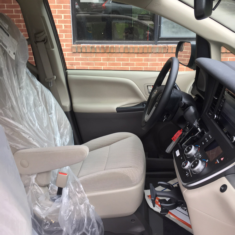Toyota wheelchair accessible van interior image on Bedco Mobility website
