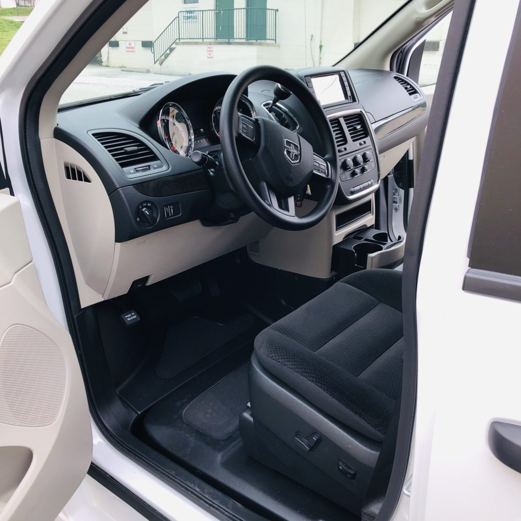 front seat view of braunability van