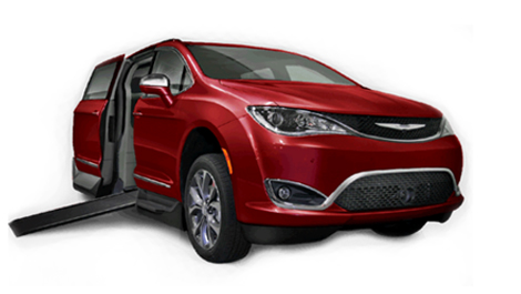 Pacifica red wheelchair accessible van image on Bedco Mobility website