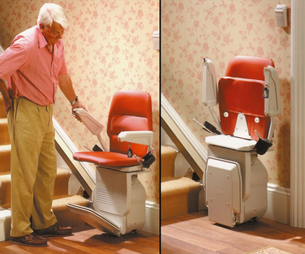 man next to residential stairlift image on Bedco Mobility website
