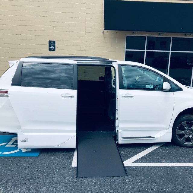 Sienna accessible van with ramp deployed