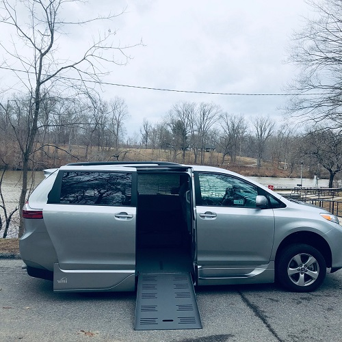 wheelchair ramp deployed on Toyota Sienna minivan