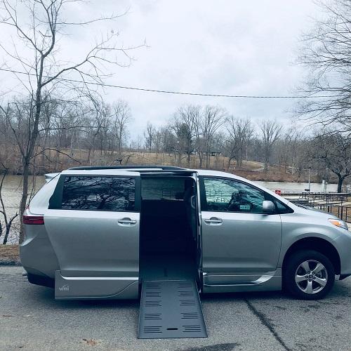 wheelchair ramp deployed on Toyota Sienna minivan
